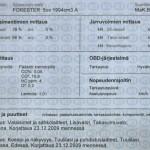 Katsastuksen tarkastuskortti 2009